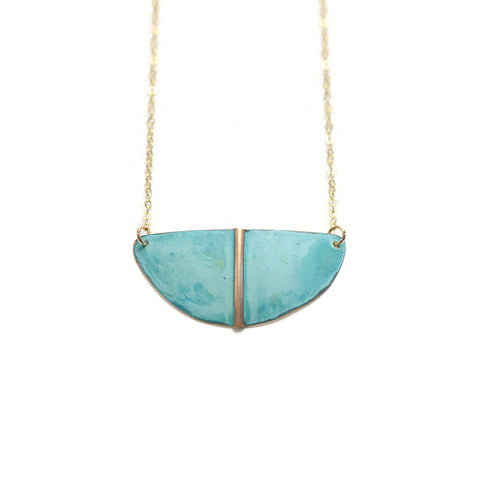 Patina Shield Necklace - Forged and Oxidized Brass Summer Jewelry
