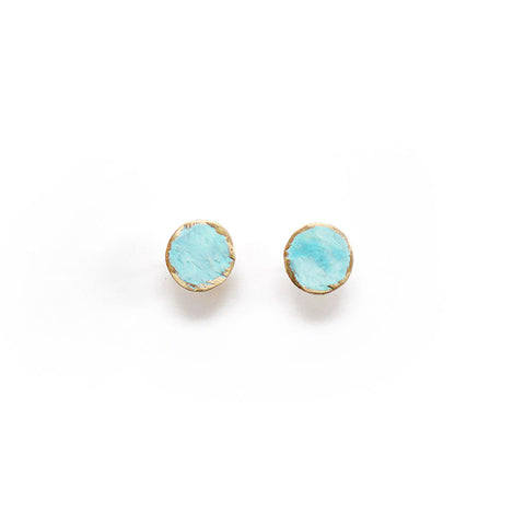 Patina Circle Studs - Hammered Brass on 14k Goldfilled posts