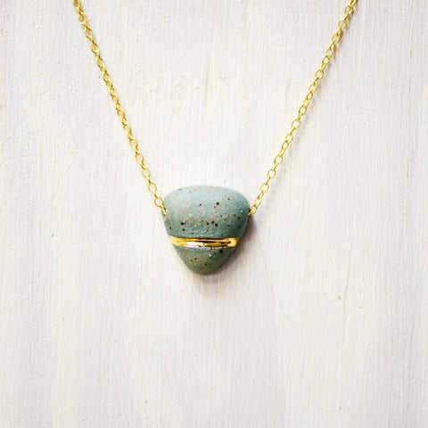 Small Buoy Charm Necklace - Stone Triangle