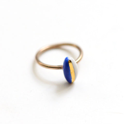 14k Gold Filled Solitaire Navigation Ring - Navy Porcelain Ring
