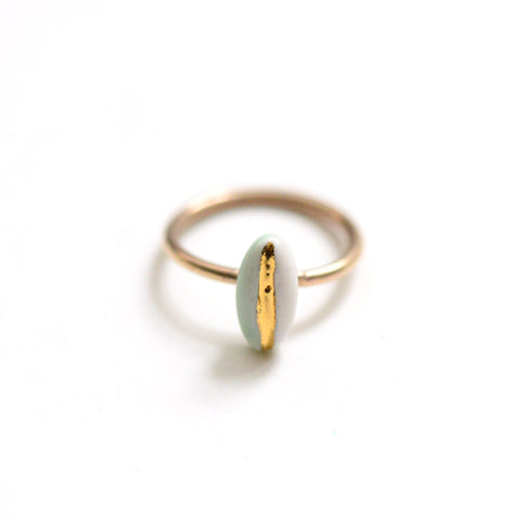 14k Gold Filled Solitaire Navigation Ring - Mint Porcelain Ring