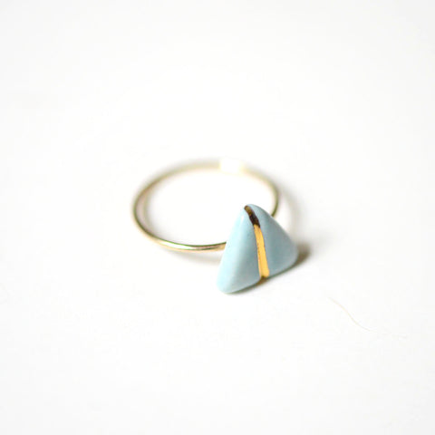 14k Gold Filled Glider Ring - Soft Blue Porcelain Ring