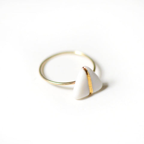 14k Gold Filled Glider Ring - White Porcelain Ring