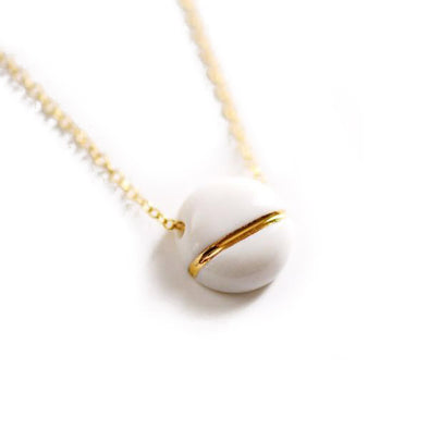 Small Buoy Charm Necklace - White Circle