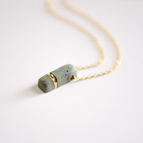 Small Buoy Charm Necklace - Stone Rectangle