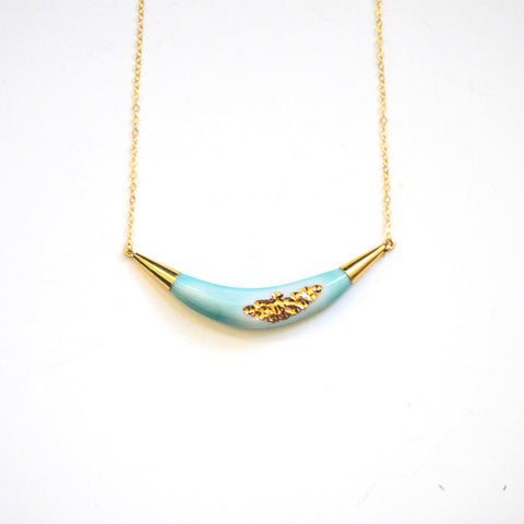Arc Porcelain Necklace - Turquoise + Gold Tafoni