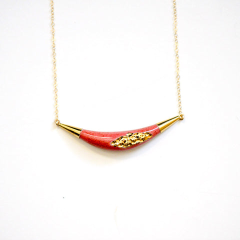 Arc Porcelain Necklace - Speckled Coral + Gold Tafoni
