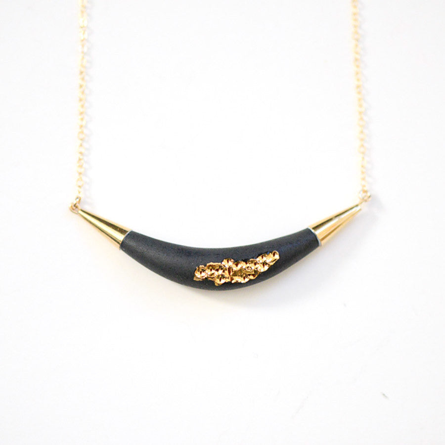 Arc Porcelain Necklace - Matte Black + Gold Tafoni