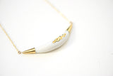 Arc Porcelain Necklace - White + Gold Tafoni