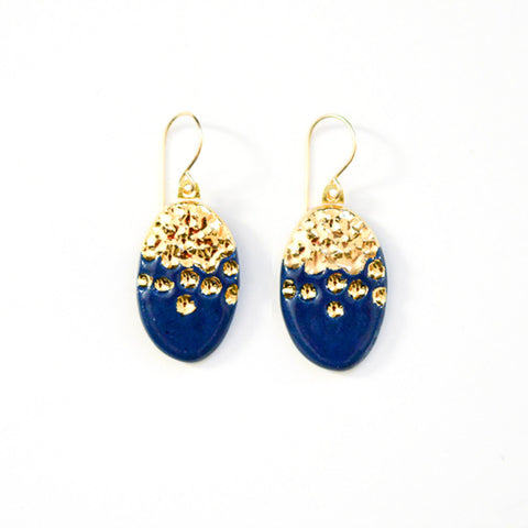 Midnight Kiss Navy Earrings - Oval