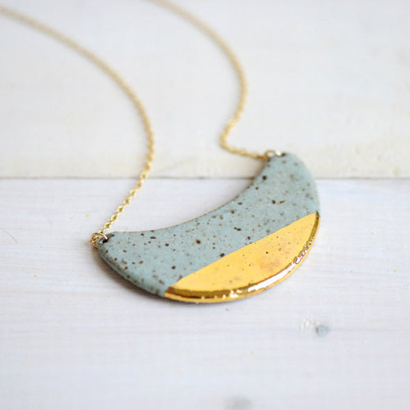 Dipped Crescent Wave Necklace