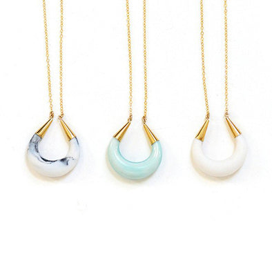 Crescent Moon Porcelain Pendant Necklace