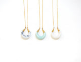 Crescent Moon Porcelain Pendant Necklace - Raw White