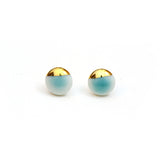 aqua turquoise porcelain stud earrings