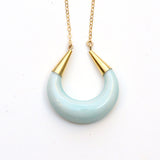 Crescent Moon Porcelain Pendant Necklace - Turquoise