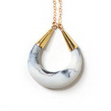 Crescent Moon Porcelain Pendant Necklace - Marbled