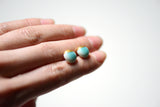 turquoise dipped stud earrings, porcelain and stone