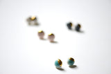 porcelain studs earrings dipped in gold