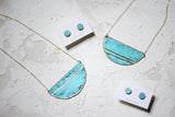 Patina Turquoise Striped Necklace