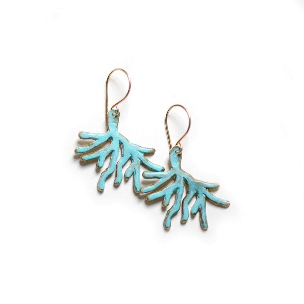 Coral Dangle Earrings - Natural Patina