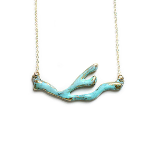 Coral Branch Necklace - Patina