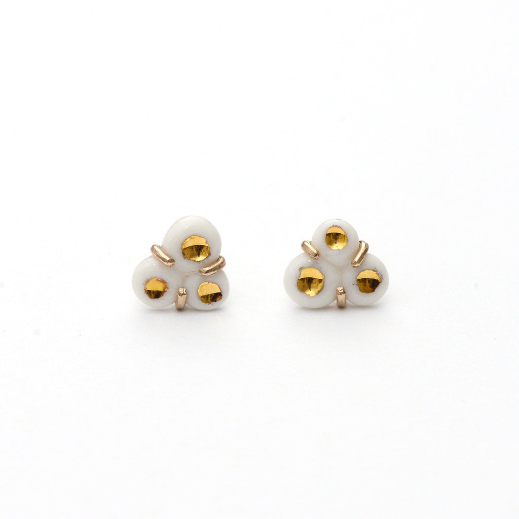 White Tri-Barnacle Earrings - Heritage Studs