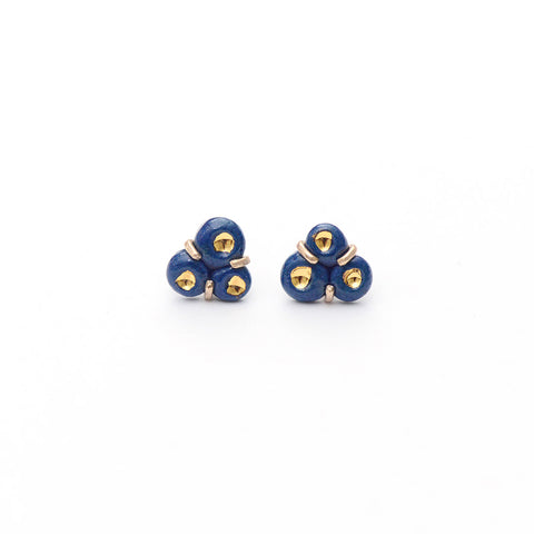 Navy Tri-Barnacle Earrings - Heritage Studs