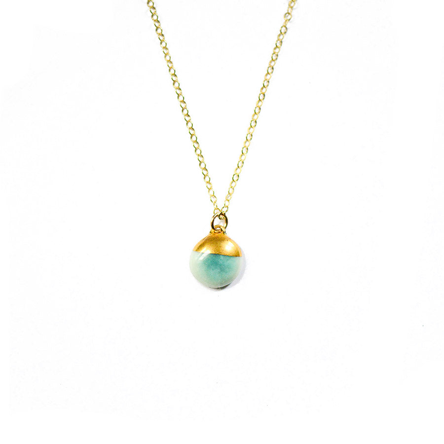 Aqua Turquoise Dipped Buoy Charm Necklace - Porcelain and Stone