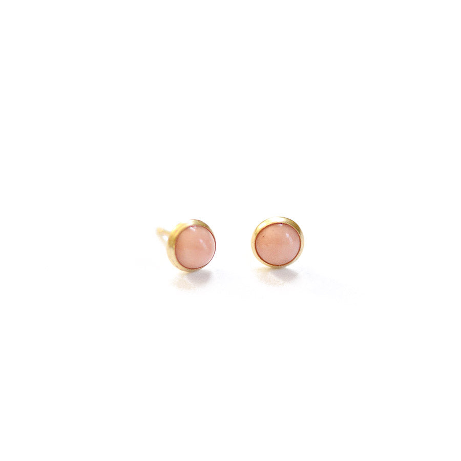 Mini Coral Earrings - Bezel Set - Heritage Studs