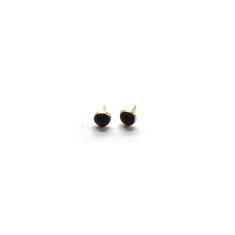 Mini Matte Black Earrings - Bezel Set - Heritage Studs