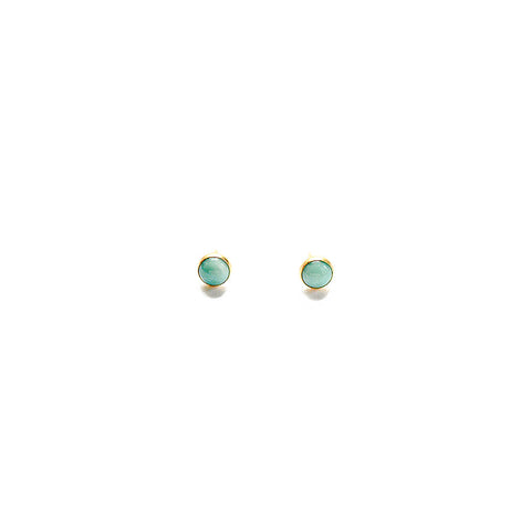 Mini Aqua Earrings - Bezel Set - Heritage Studs