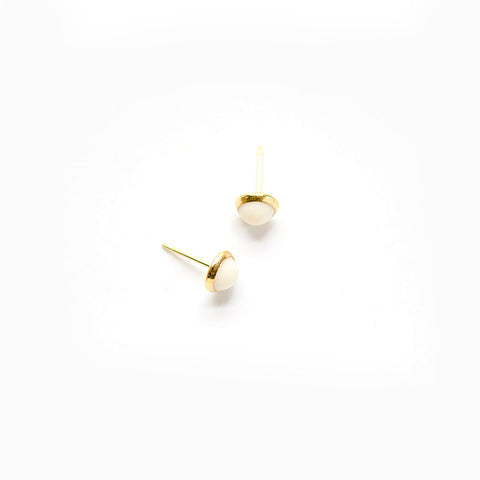 Mini White Earrings - Bezel Set - Heritage Studs