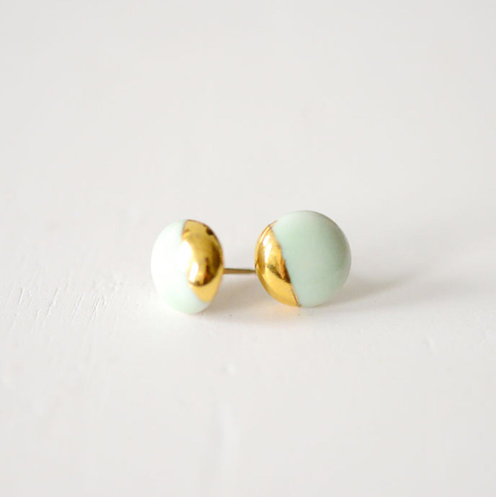 Dipped Porcelain Studs - Mint