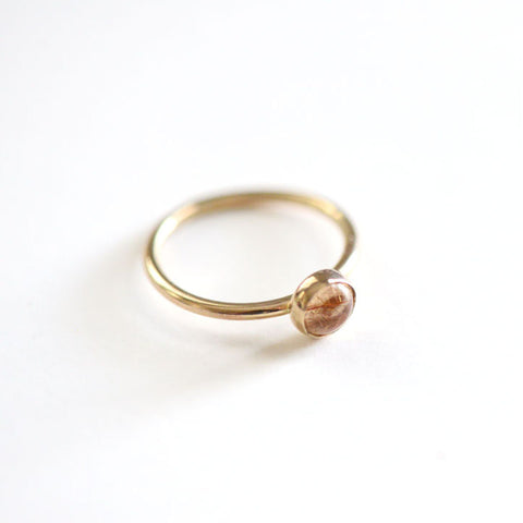 14k Gold Rutilated Quartz Ring