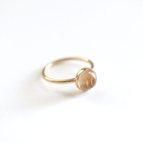 14k Gold Rutilated Quartz Ring - 8mm