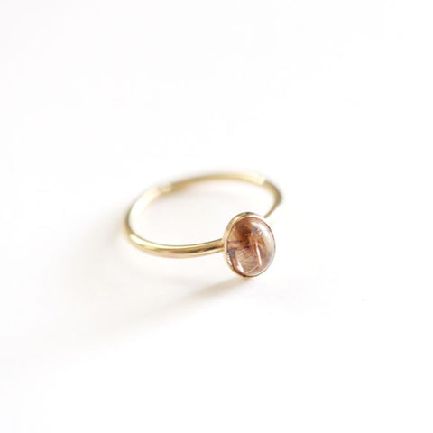 14k Gold Rutilated Quartz Ring - Oval