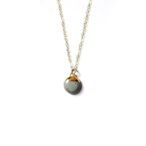 Stone Dipped Buoy Charm Necklace - Porcelain and Stone