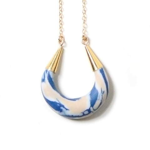 Crescent Moon Porcelain Pendant Goddess Necklace - Rose + Navy Marbling