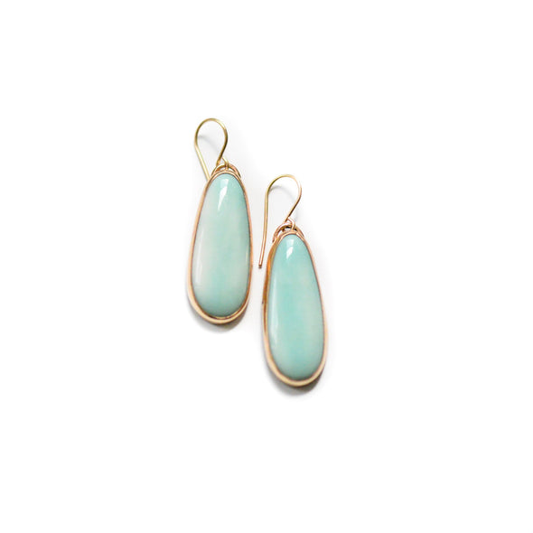 Turquoise Drop Earrings - Bezel set