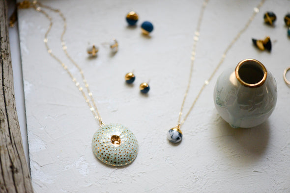 Small Uni Necklace - Detailed Sea Urchin Jewelry