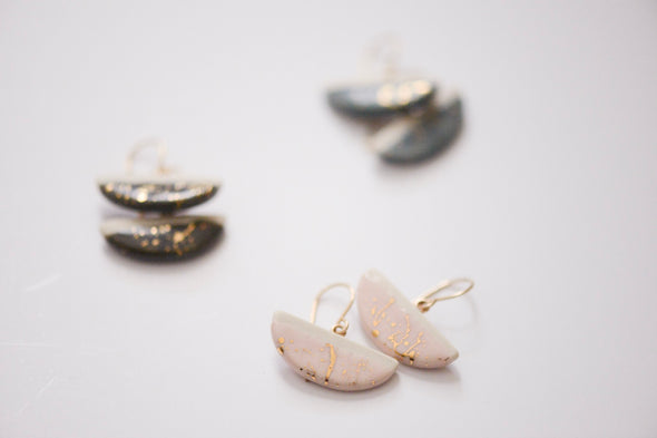 Crescent Earrings - Gold Mist