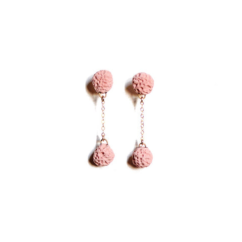 Coral Matte Dusky Rose Double Drop Studs