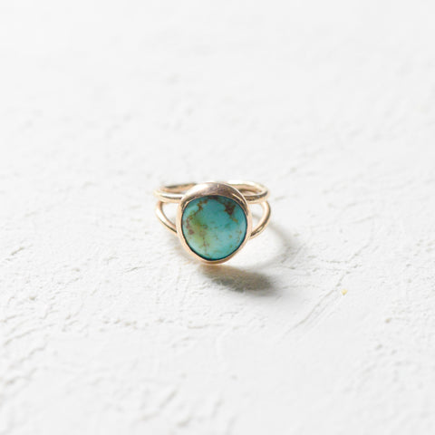 Turquoise and Porcelain Ring - 14k gold-filled Porcelain Ring