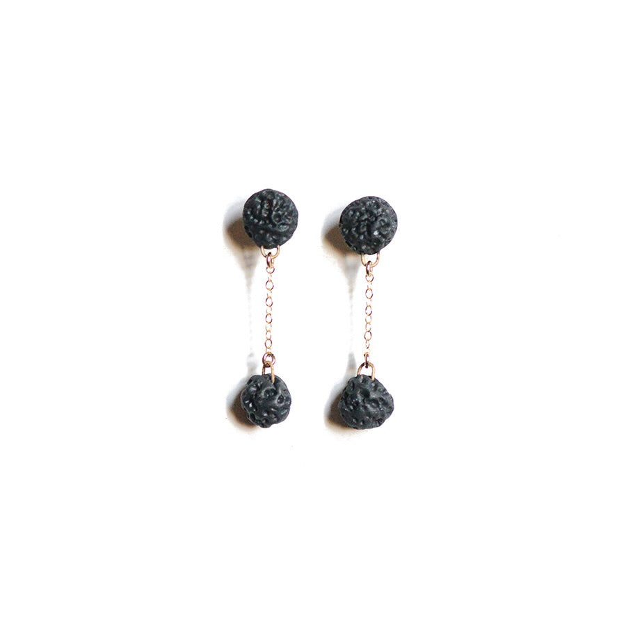 Coral Matte Black Double Drop Studs