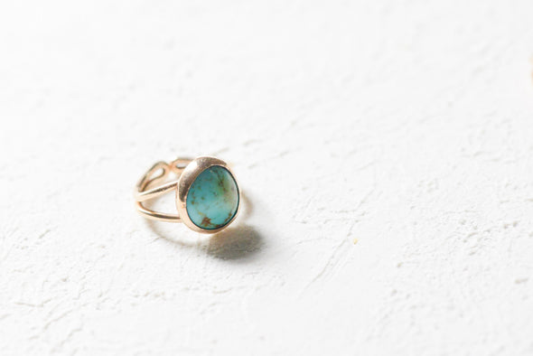 Turquoise Ring - 14k gold-filled Porcelain Ring