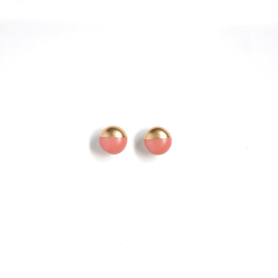 coral studs, gold dipped studs, summer jewelry