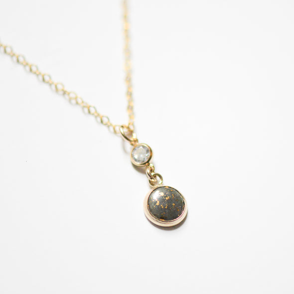 Bronzed Gold Pearl and CZ Necklace - Porcelain Jewelry