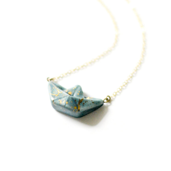 Paper Boat Origami Charm Necklace