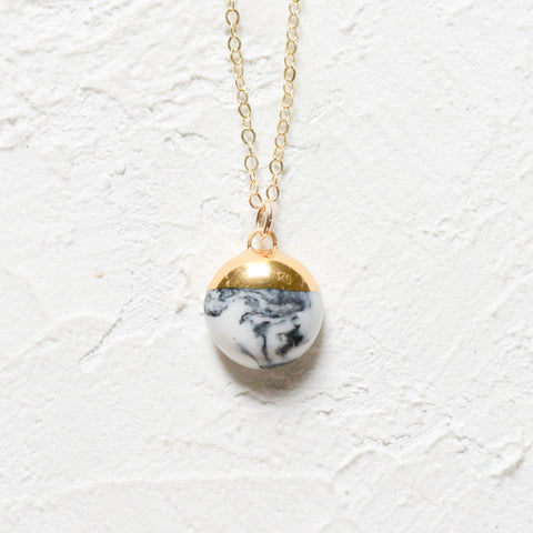 Marble Dipped Large Buoy Charm Necklace