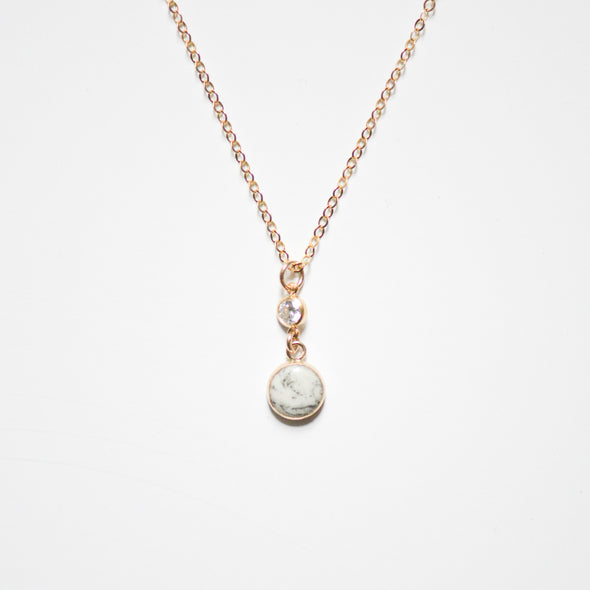 Marbled Pearl and CZ Necklace - Porcelain Jewelry